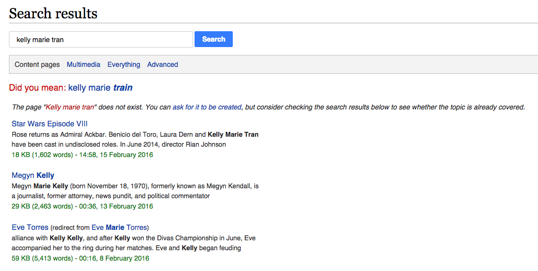 """No. No we did not mean """"Kelly Marie TRAIN,"""" Wikipedia. No donation money for you."""