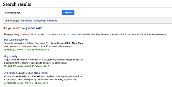 "No. No we did not mean ""Kelly Marie TRAIN,"" Wikipedia. No donation money for you."