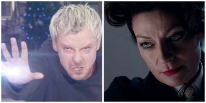 LEFT: the Master (John Simm) battling Rassilon in 'The End of Time.' RIGHT: The latest Master, the Mistress (Michelle Gomez)