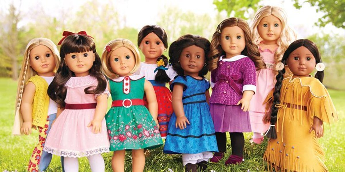 Some of the featured historical American Girl dolls.