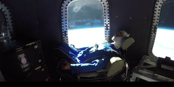 Mannequin Skywalker in the Blue Origin crew capsule.