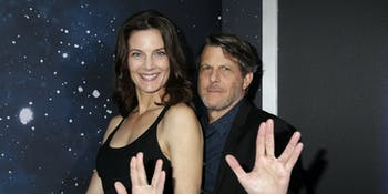 Terry Farrell and Adam Nimoy on the red carpet for 'Star Trek: Discovery'