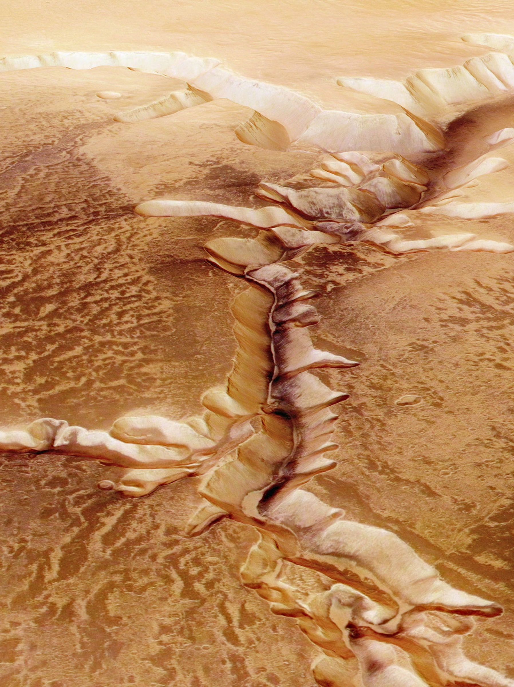 A view of the Echus Chasma, one of the largest water source regions on Mars, seen by ESA's Mars Express.