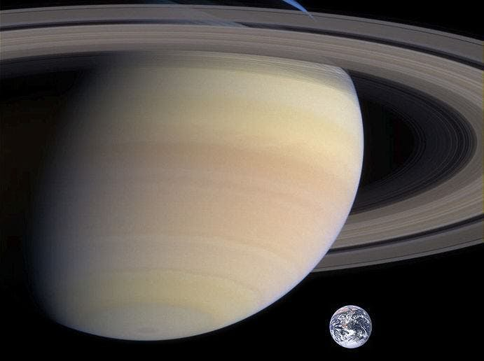 Saturn compared to Earth