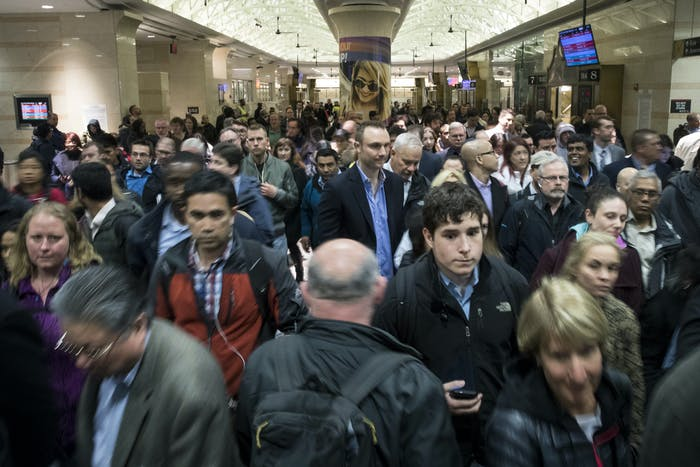 NEW YORK, NY - APRIL 4: Evening commuters make their way toward a New Jersey Transit train platform at Penn Station April 4, 2017 in New York City. New Jersey Transit, Amtrak and Long Island Rail Road trains were all running on limited schedules Tuesday evening. Following a derailment yesterday, eight out of the 21 tracks are out of service. (Photo by Drew Angerer/Getty Images)