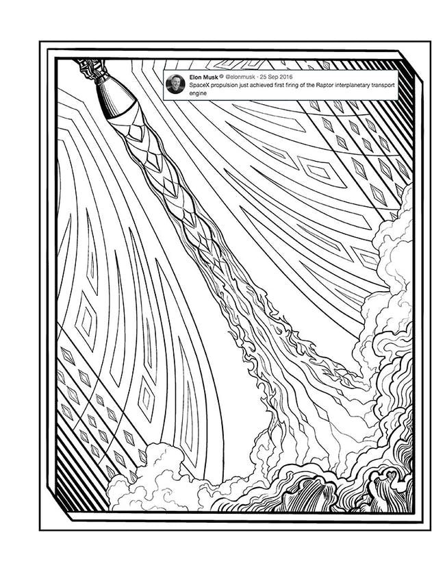 elon musk coloring book raptor engine