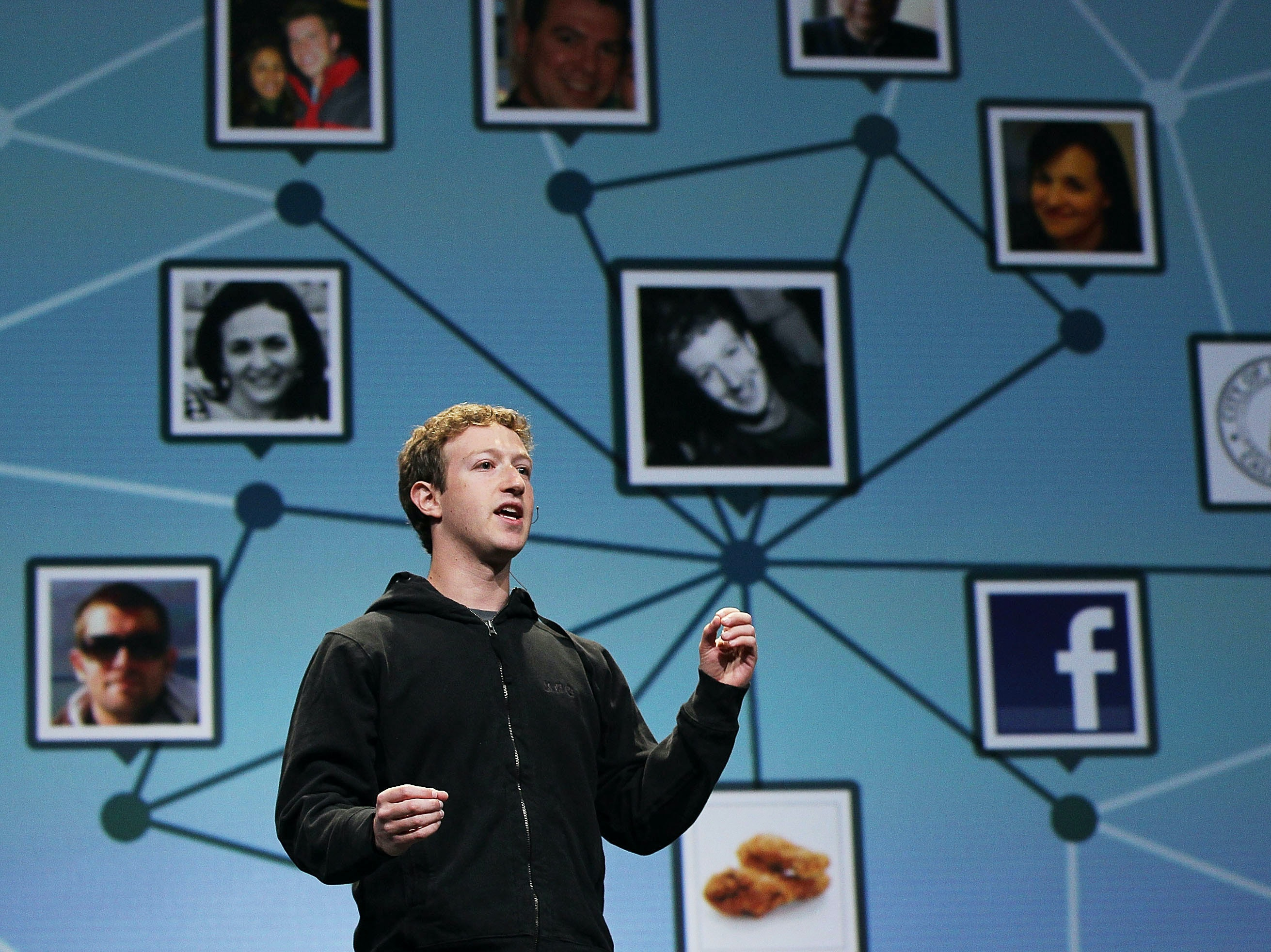 SAN FRANCISCO - APRIL 21:  Facebook founder and CEO Mark Zuckerberg delivers the opening keynote address at the f8 Developer Conference April 21, 2010 in San Francisco, California. Zuckerberg kicked off the the one day conference for developers that features breakout sessions on the future  of social technologies.  (Photo by Justin Sullivan/Getty Images)