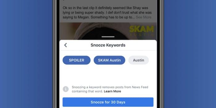 Facebook's Snooze Keywords