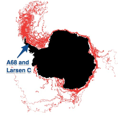 larsen c iceberg where will it go next