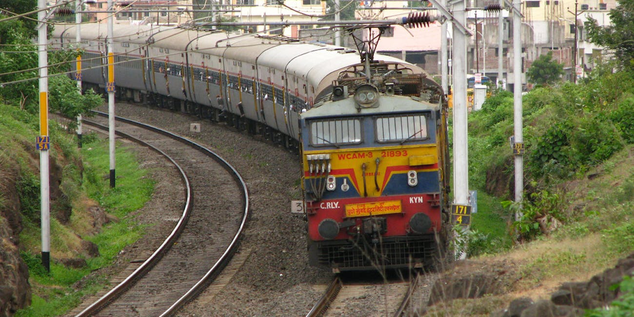 Indian train traveling to Mumbai