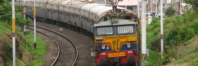 Indian train traveling to Mumbai