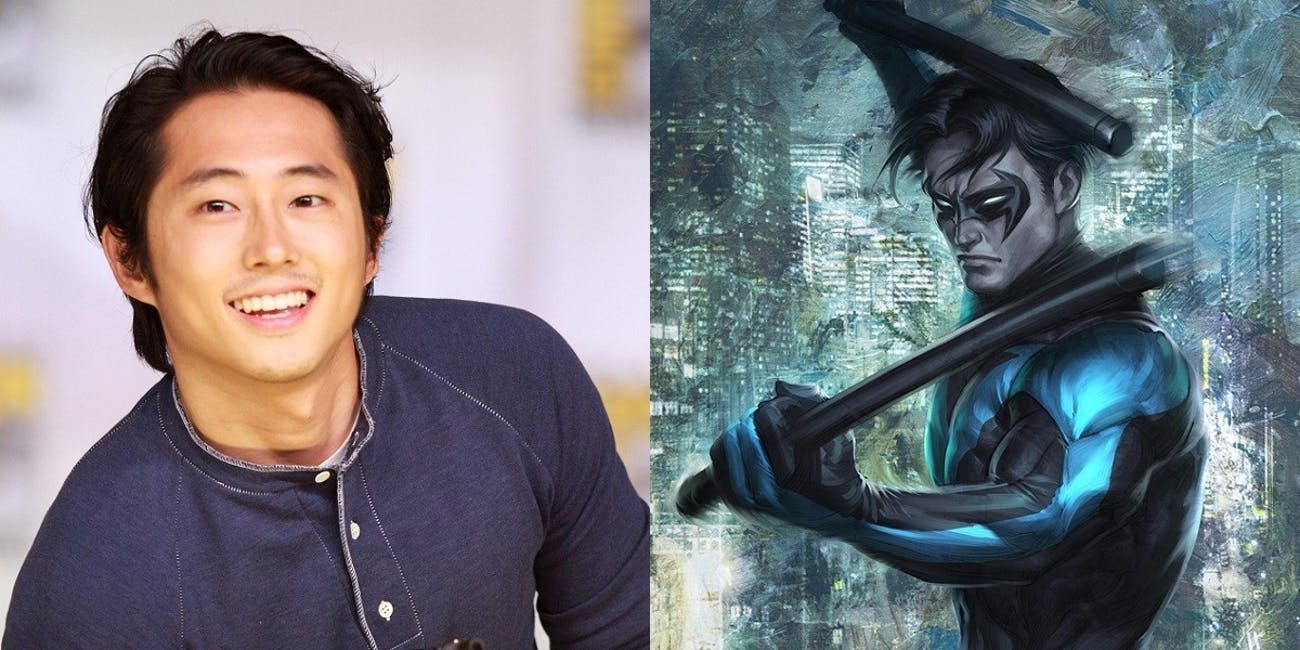 A fan-made juxtaposition of Steven Yeun and Nightwing.
