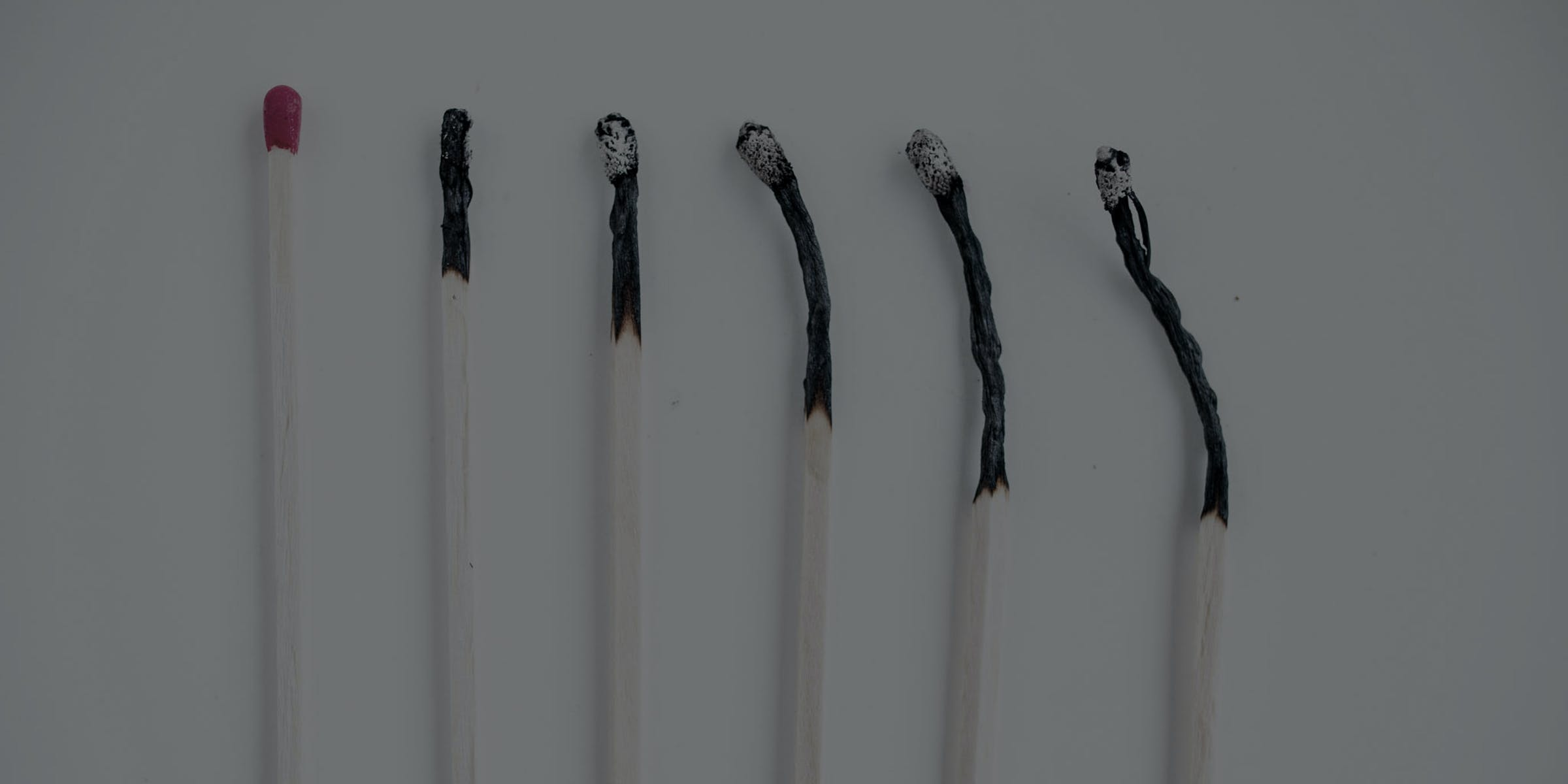 Concept shot of fire matches and burned matches