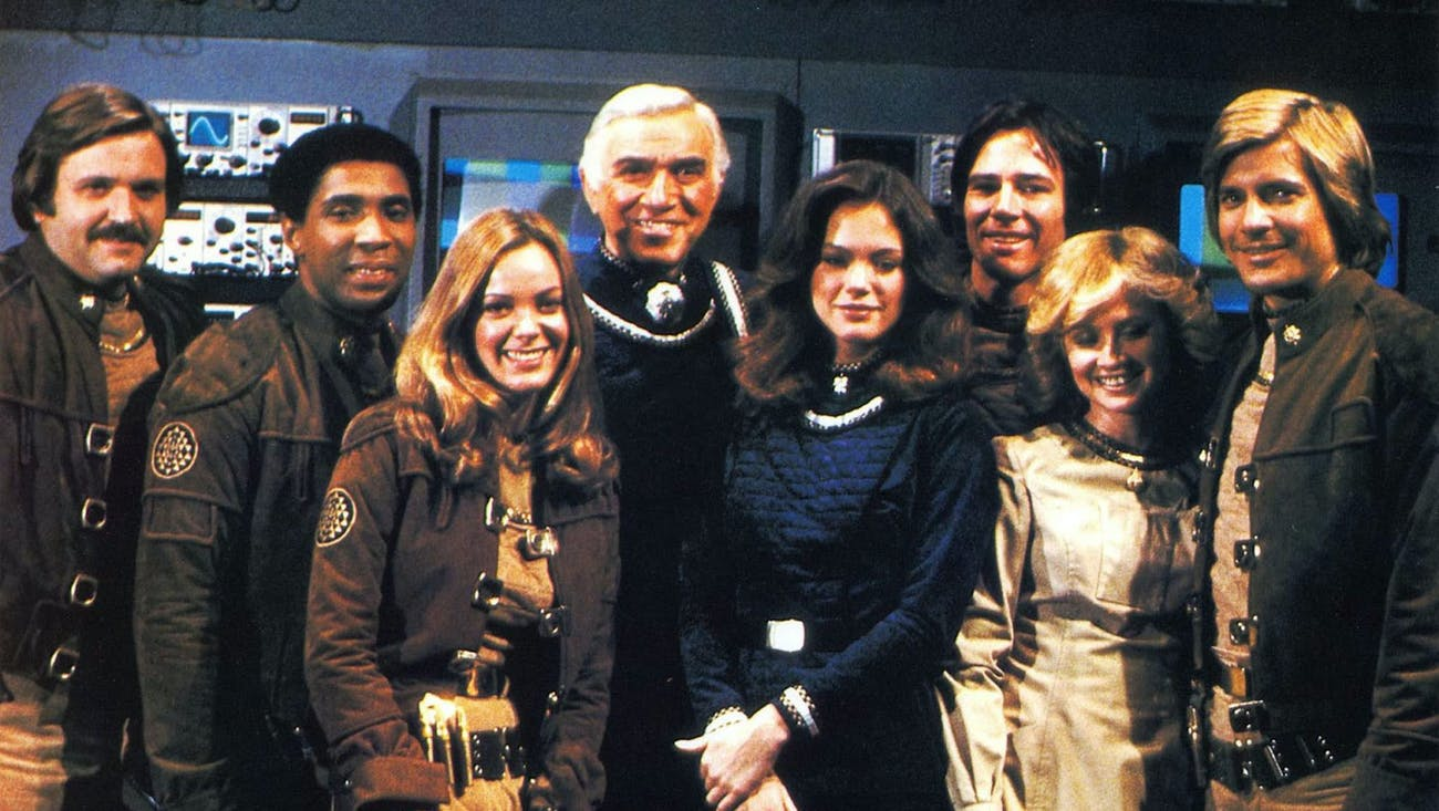The cast in the OG 'Battlestar Galactica' in 1978