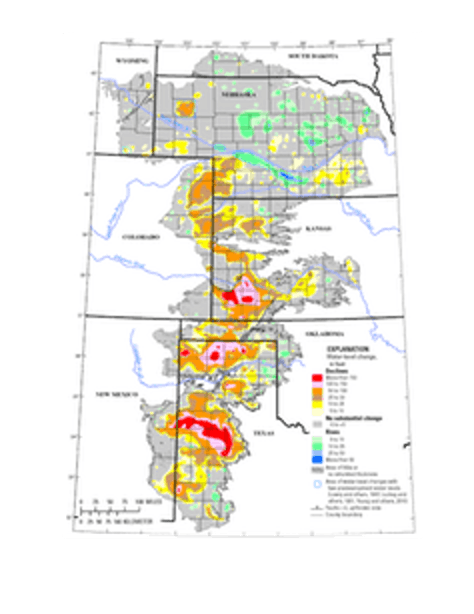 Ogallala Aquifer water-level changes from predevelopment (about 1950) to 2015.