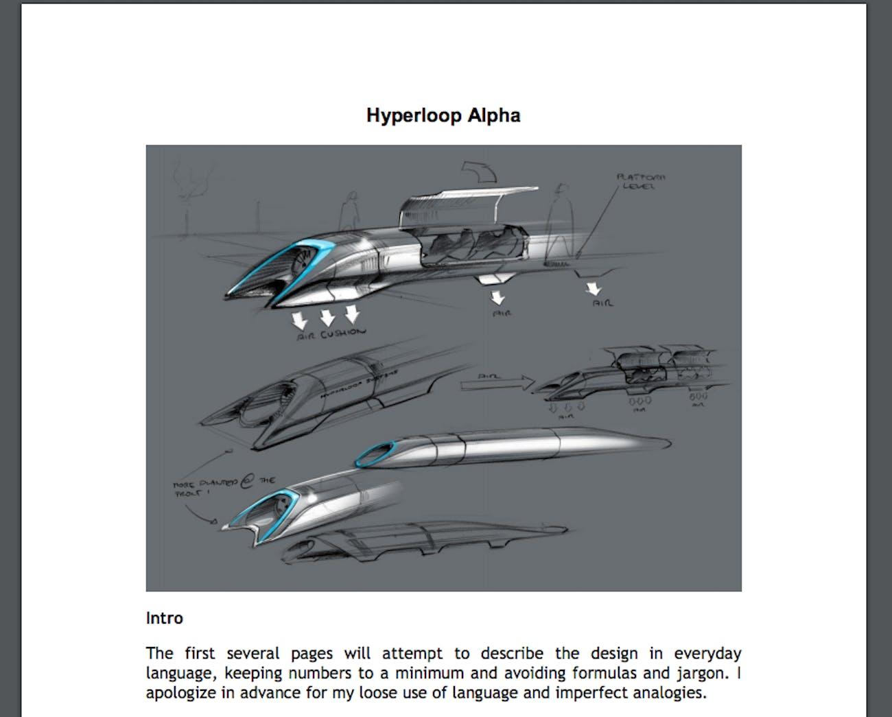 Hyperloop Alpha whitepaper