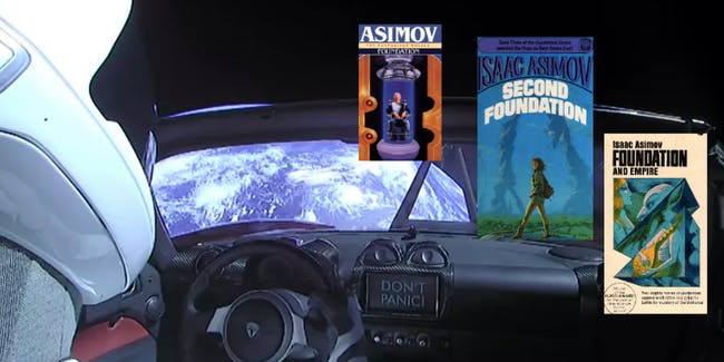 SpaceX's Starman has some reading material.
