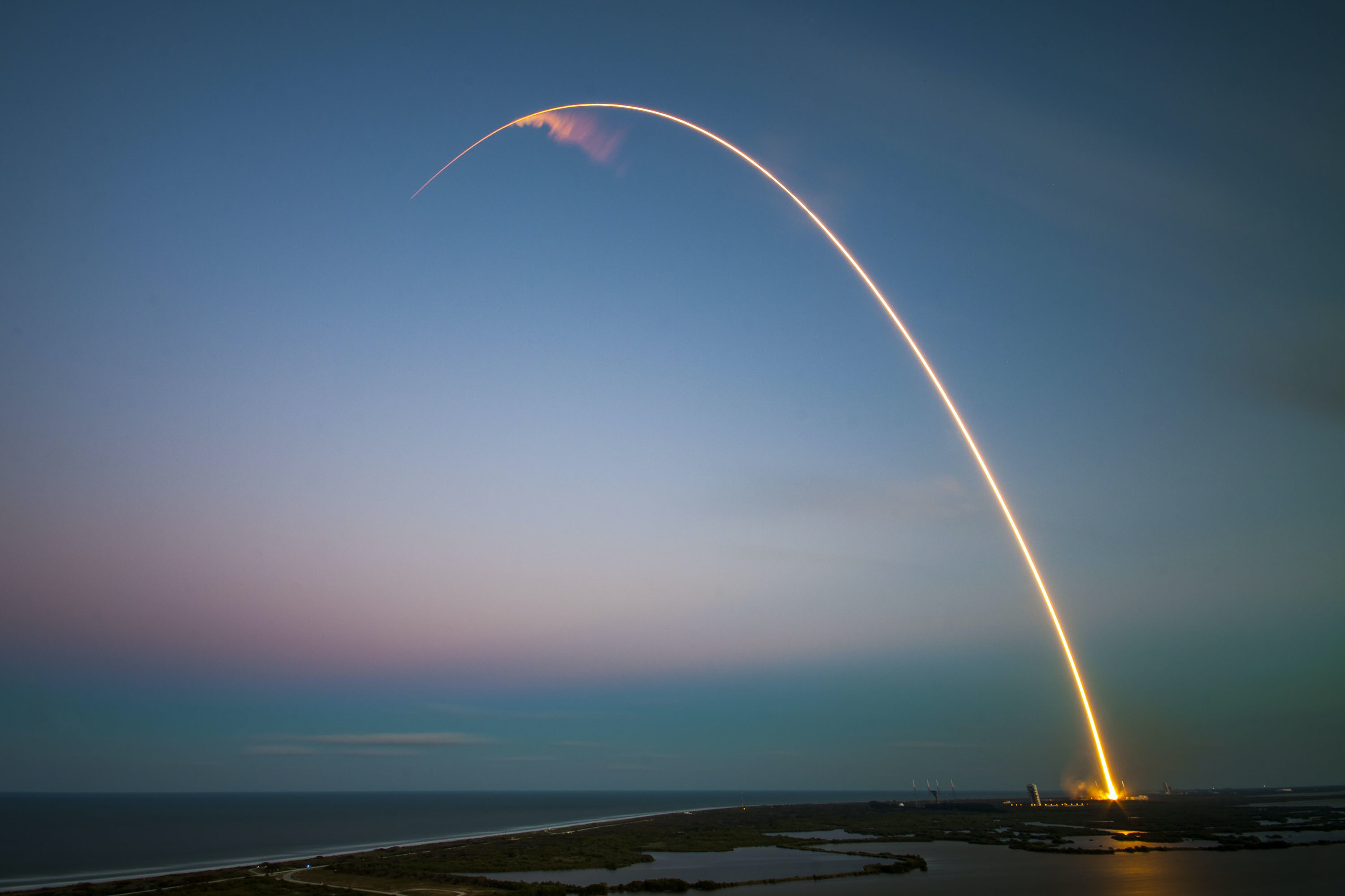 SpaceX's Falcon 9 rocket makes a successful launch with the SES-9 communications satellite on March 4, 2016 in Cape Canaveral, Florida.