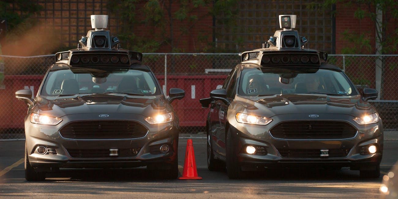 uber self-driving cars parked Ford sensors data autonomous vehicles