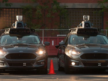 uber self-driving cars parked Ford sensors data autonomous vehicles