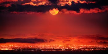 A strawberry moon over Los Angeles.