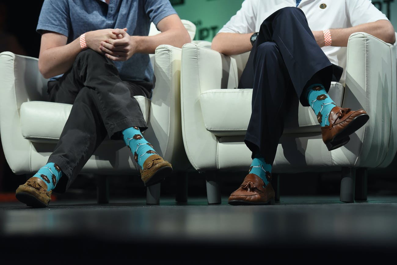 NEW YORK, NY - MAY 05: Co-Founder and COO of Yik Yak, Brooks Buffington (L) and Co-Founder and CEO of Yik Yak, Tyler Droll speak onstage during TechCrunch Disrupt NY 2015 - Day 2 at The Manhattan Center on May 5, 2015 in New York City. (Photo by Noam Galai/Getty Images for TechCrunch)