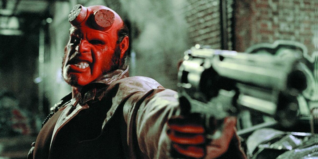 Ron Perlman as Hellboy in Guillermo del Toro's film adaptation.