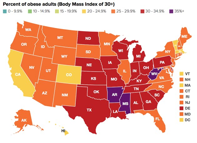 red states obesity problem