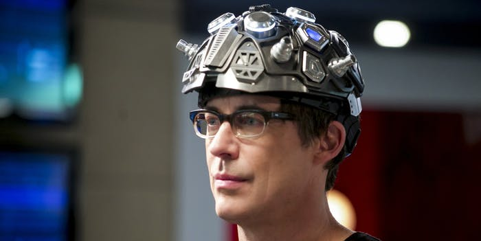 harrison wells and his dark matter helmet