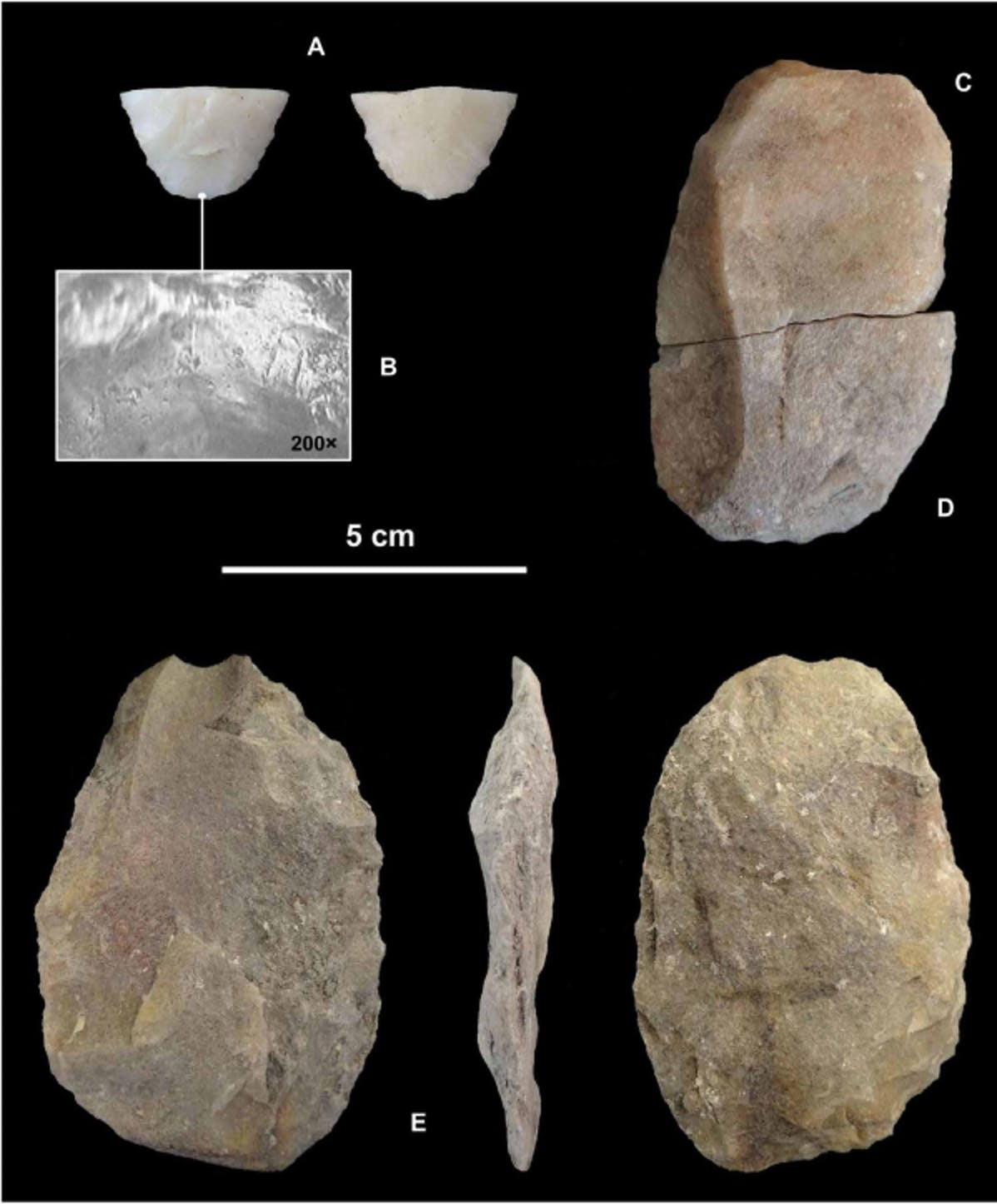 Archaeologists suspect these tools, found at Campo Laborde, were used to hunt the giant sloth, as evidenced by the broken projectile point (A).