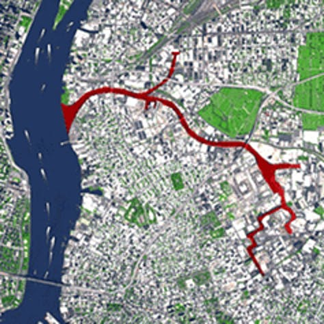 Map of Newtwon Creek flowing through Brooklyn and Queens