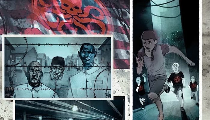 One panel depicts mutants in a concentration camp, and another shows white children in Hydra shirts chasing a brown-skinned boy.