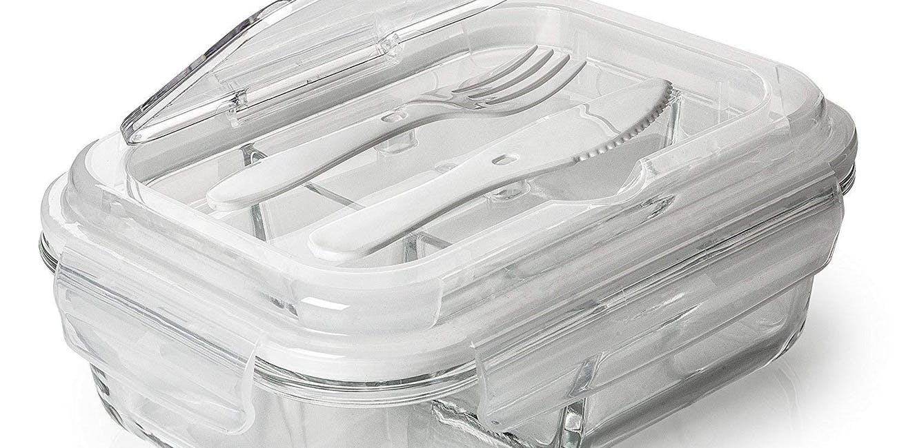 Prep Naturals Glass Meal Prep Containers 3 Compartment
