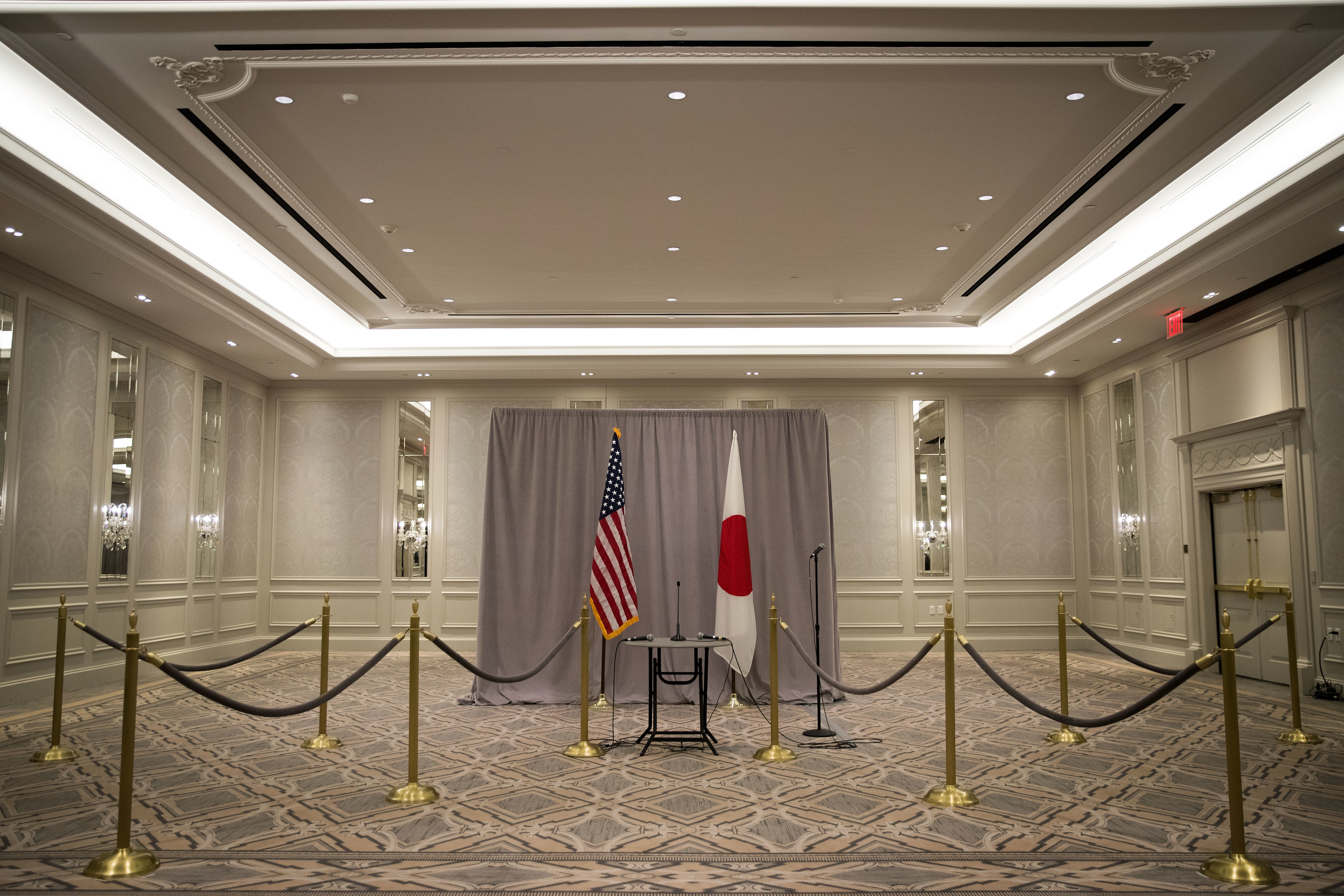 NEW YORK, NY - NOVEMBER 17: A view of the stage setup following Prime Minister of Japan Shinzo Abe's press conference following a meeting with President-elect Donald Trump, November 17, 2016 in New York City. Trump and his transition team are in the process of filling cabinet and other high level positions for the new administration.  (Photo by Drew Angerer/Getty Images)
