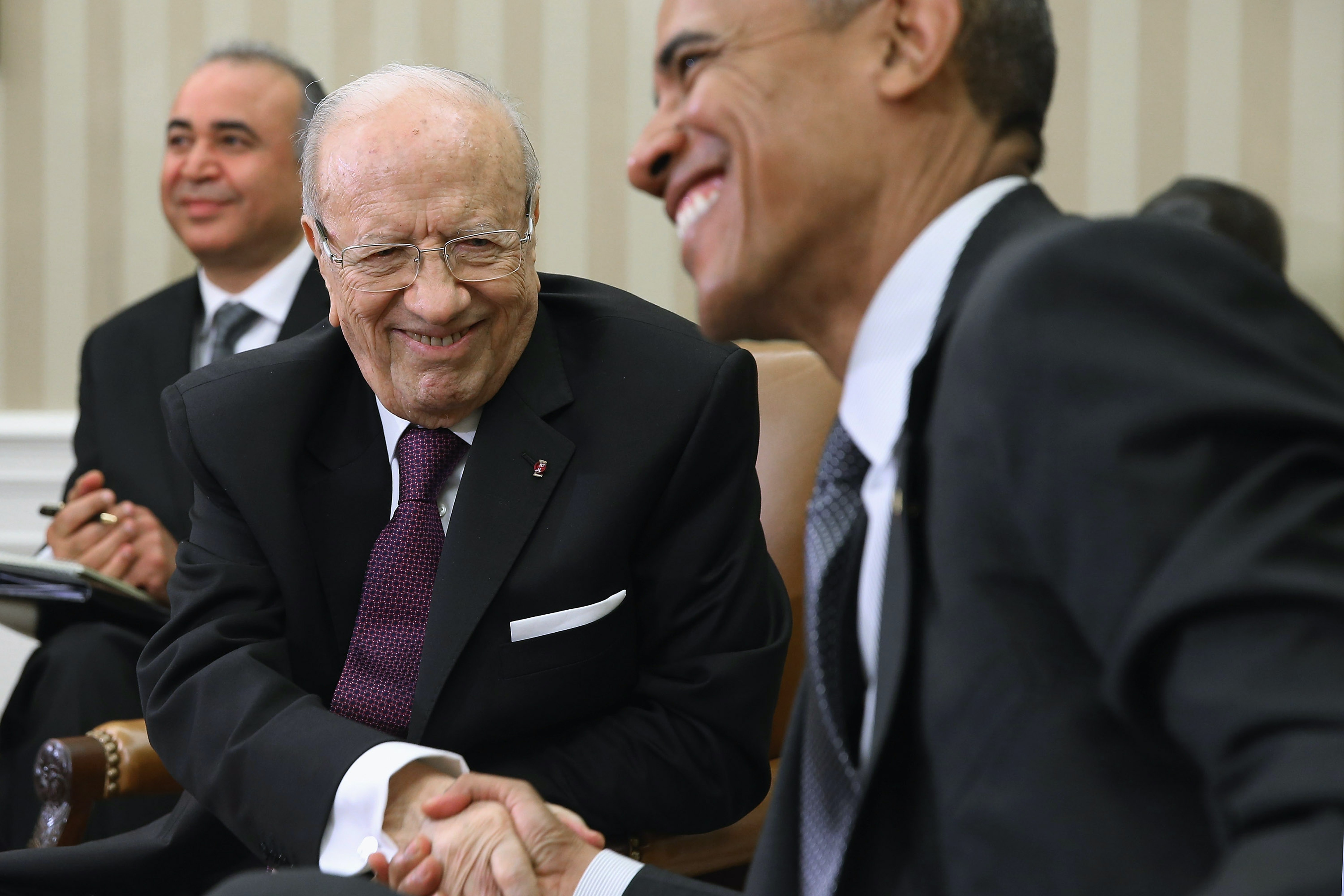 President Obama meets with Tunisian President Beji Caid Essebsi in May 2015.