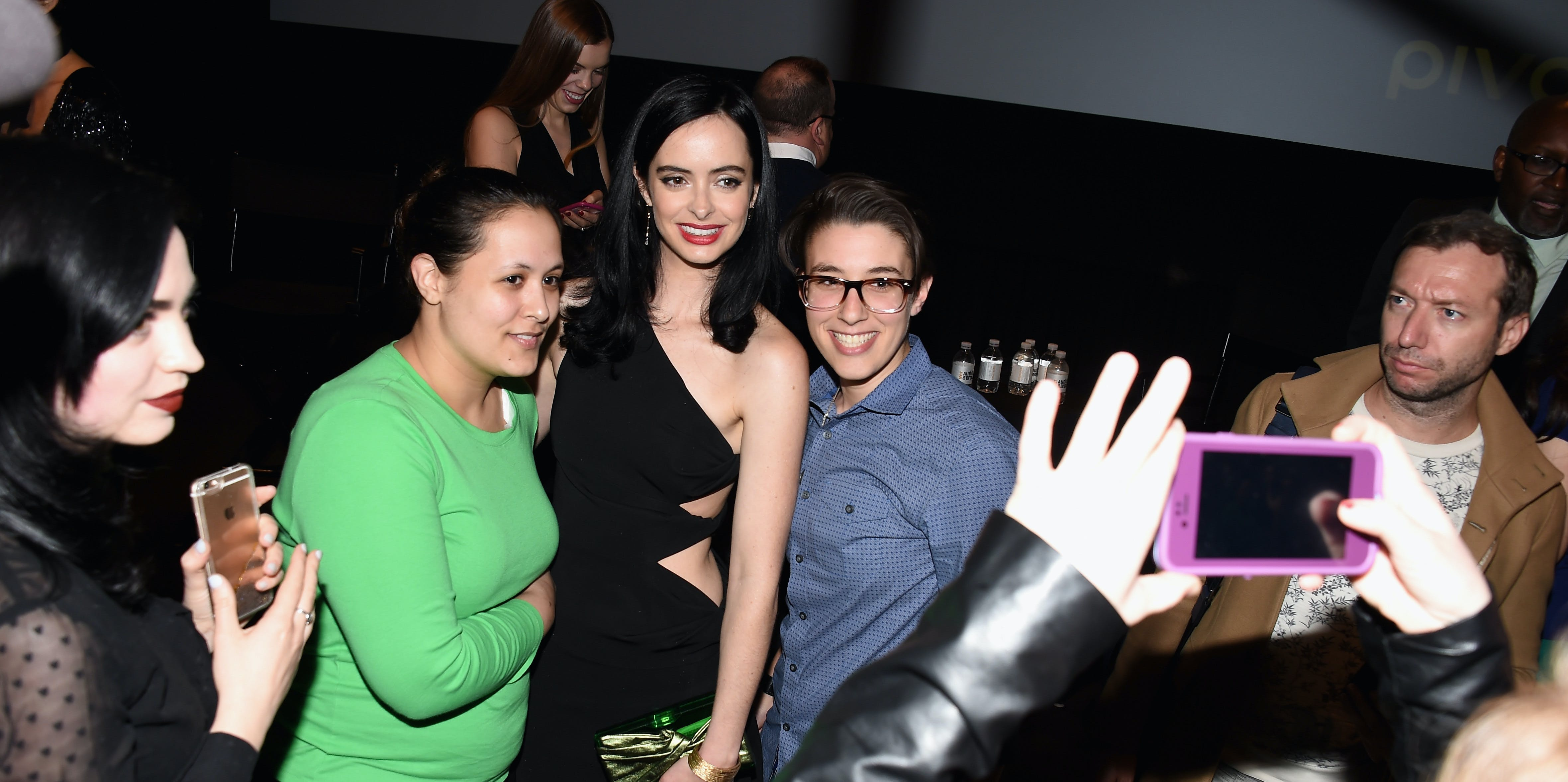 NEW YORK, NY - MAY 18:  Actress Krysten Ritter (C) and guests attend a cast and crew discussion with Marvel's 'Jessica Jones'