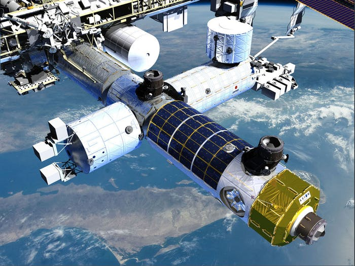 Axios's module attached to the ISS.