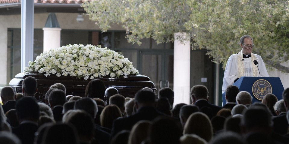 Nancy Reagan's memorial service - she died at 94.