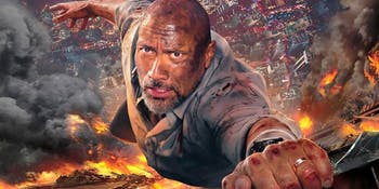 The Rock survives his epic leap in 'Skyscraper' but it totally doesn't make mathematic sense.