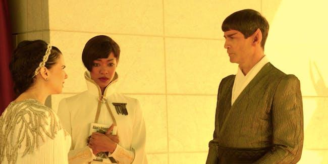 Amanda Grayson, Michael Burnham, and Sarek in 'Star Trek: Discovery.'