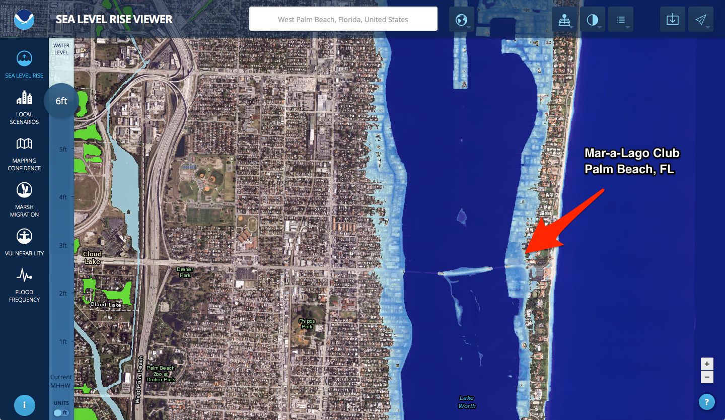 Many Trump Properties Could Be Underwater Due To Rising Sea Levels - Sea level rise map florida