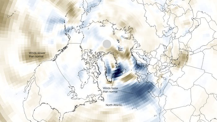Wind speeds faster than normal are indicated in blue.