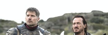 "Nikolaj Coster-Waldau and Jerome Flynn as Jaime and Bronn in 'Game of Thrones' Season 7 episode 4, ""The Spoils of War"""