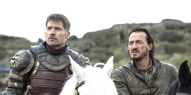 "Nikolaj Coster-Waldau and Jerome Flynn as Jaime and Bronn in 'Game of Thrones' Season 7 episode 4, ""The Spoils of War"""