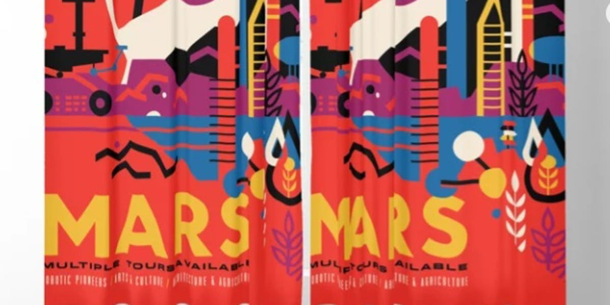 Retro Mars Vacation Ad from NASA Blackout Curtain