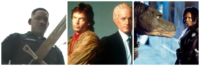 LEFT: 'Bright.' CENTER: 'Alien Nation.' RIGHT: 'Theodore Rex.'