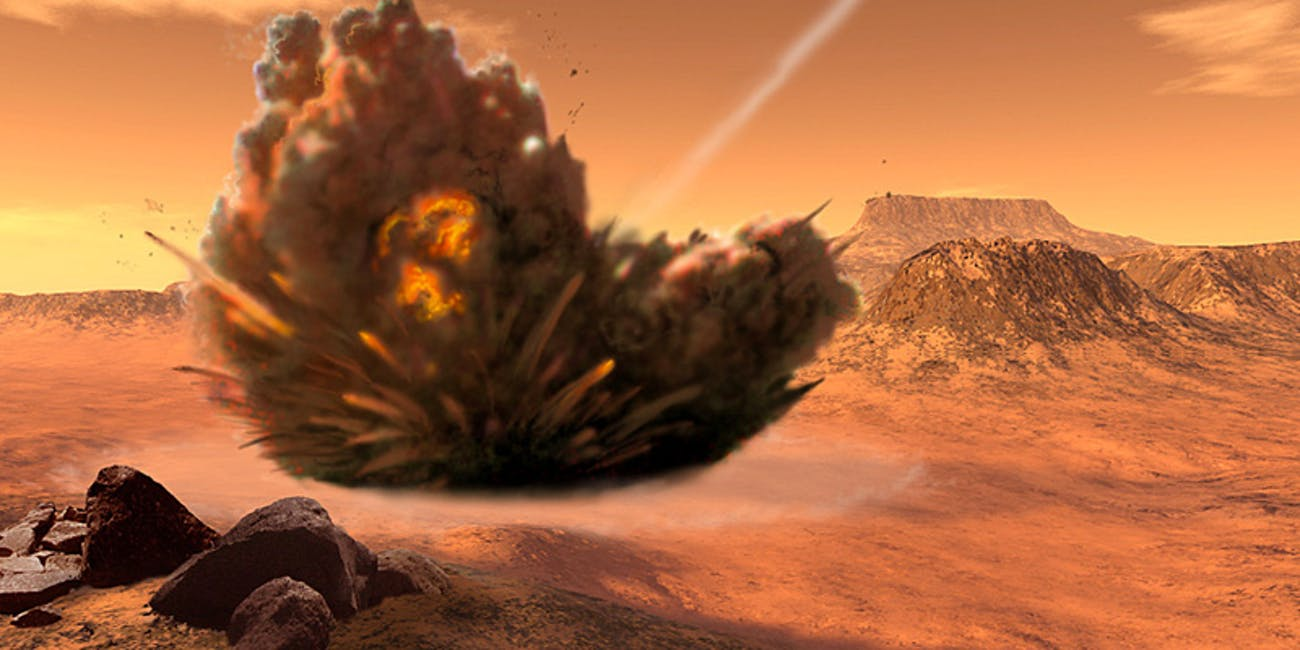 Artist's impression of what an asteroid impact might look like on the surface of Mars