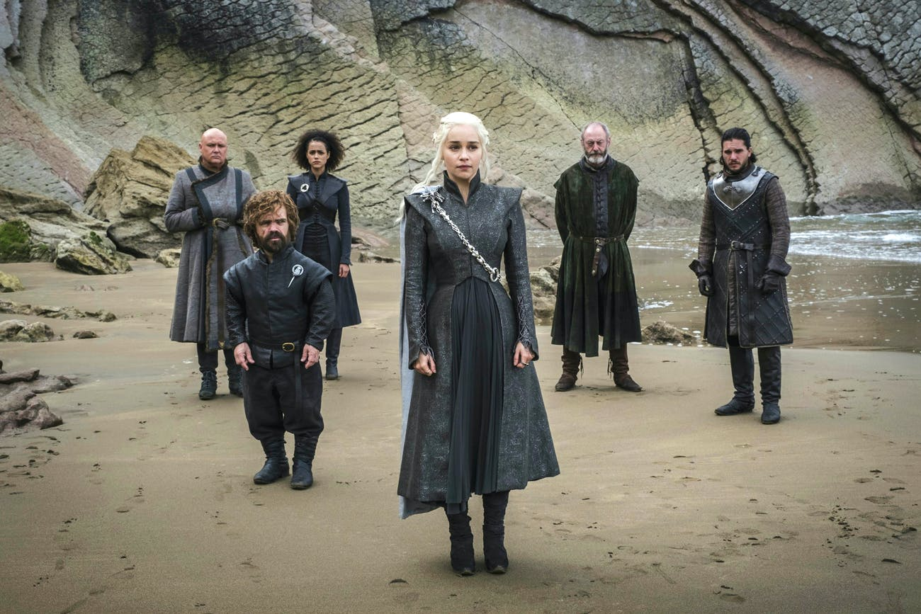 From L-R: Varys, Tyrion Lannister, Missandei, Daenerys Targaryen, Davos Seaworth, and Jon Snow in 'Game of Thrones'.