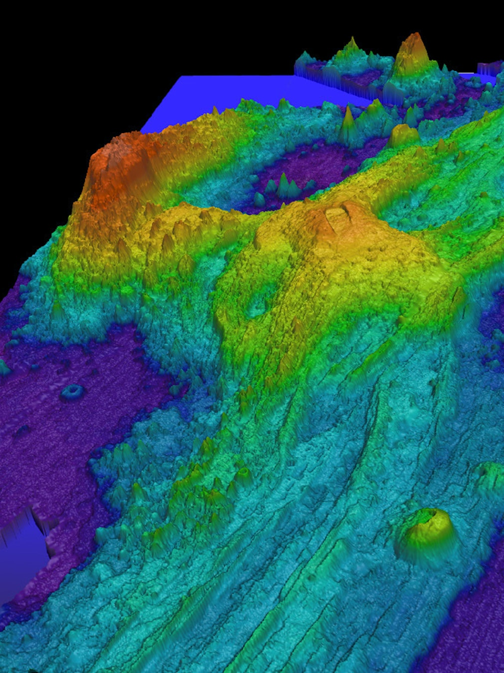 Exaggerated swatch bathymetry of Axial Seamount.