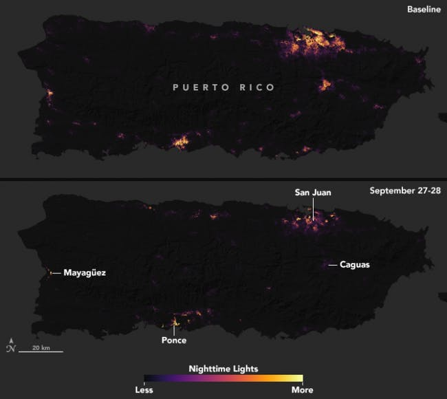 Dramatic Nasa Satellite Maps Reveal Loss Of Power In Puerto Rico